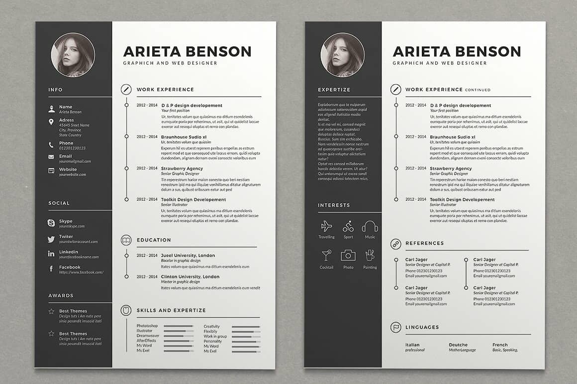 two column resume templates to free included template front desk receptionist examples Resume Resume 2 Column Template