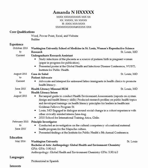 undergraduate research assistant resume example livecareer examples operations Resume Undergraduate Resume Examples