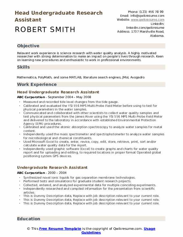 undergraduate research assistant resume samples qwikresume template pdf packaging machine Resume Undergraduate Resume Template