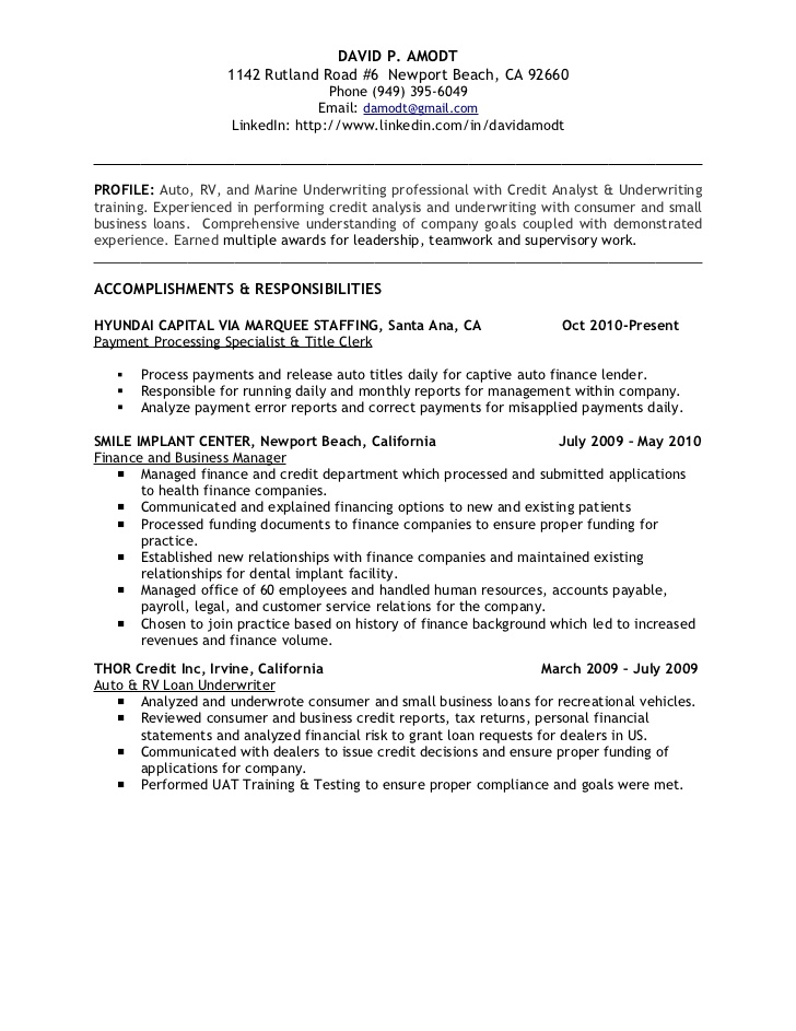 underwriting credit analyst resume business loan example amp ideal format for freshers Resume Business Loan Resume Example