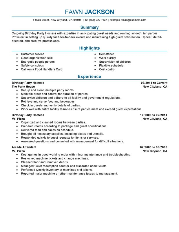 unforgettable birthday party host resume examples to stand out myperfectresume Resume Organizational Skills On A Resume