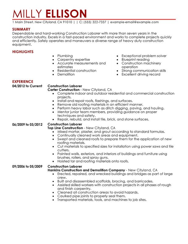 unforgettable construction labor resume examples to stand out myperfectresume sample for Resume Sample Resume For Building Contractor