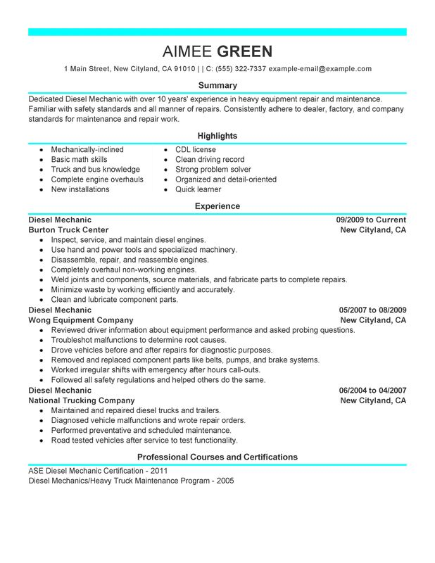 unforgettable diesel mechanic resume examples to stand out myperfectresume heavy duty Resume Heavy Duty Diesel Mechanic Resume