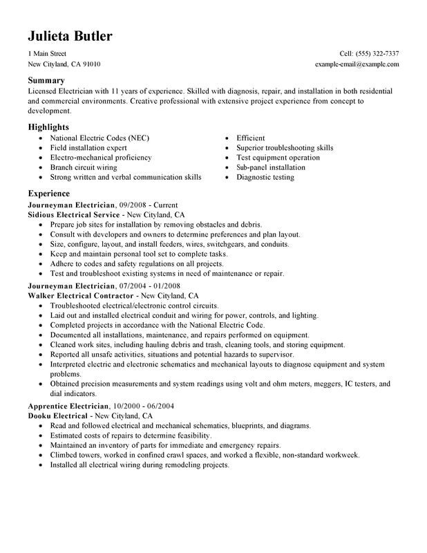 unforgettable journeymen electricians resume examples to stand out myperfectresume Resume Electrician Resume Word Format