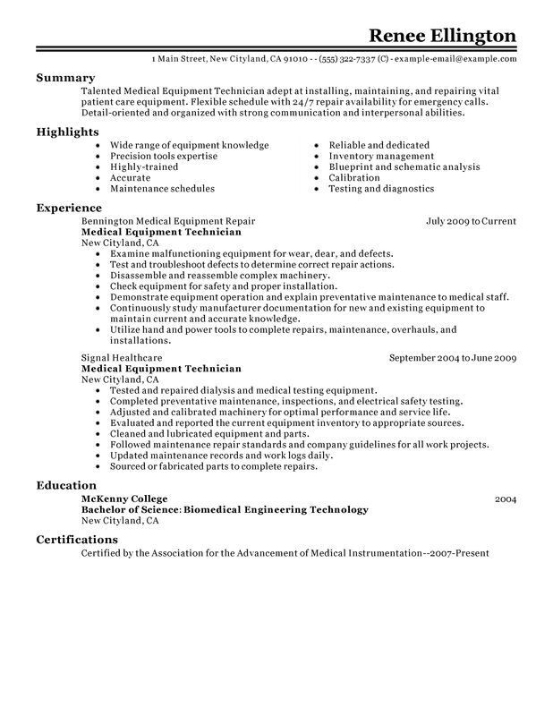 unforgettable medical equipment technician resume examples to stand out myperfectresume Resume Availability Resume Example