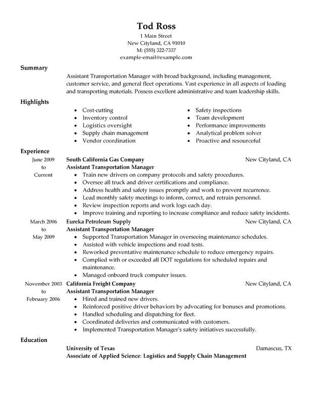 unforgettable transportation assistant manager resume examples to stand out Resume Transportation Supervisor Resume Example