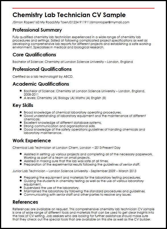 use the chemistry lab technician cv example to start yours skills for resume sample entry Resume Chemistry Skills For Resume