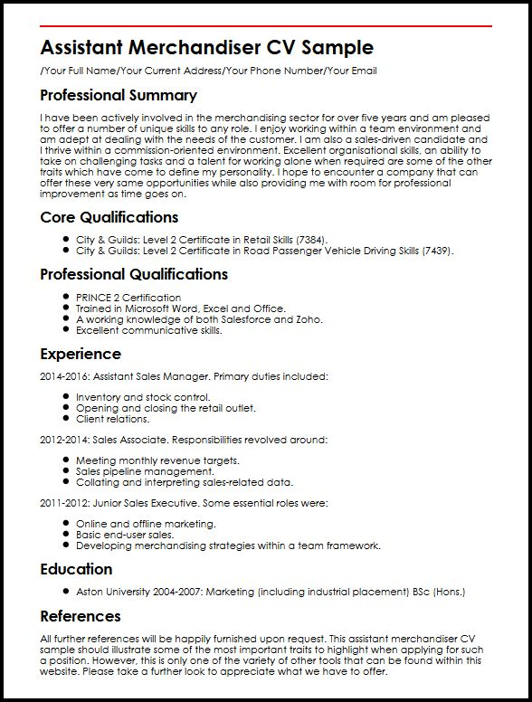 use this assistant merchandiser cv example to start yours resume objective sample Resume Merchandiser Resume Objective