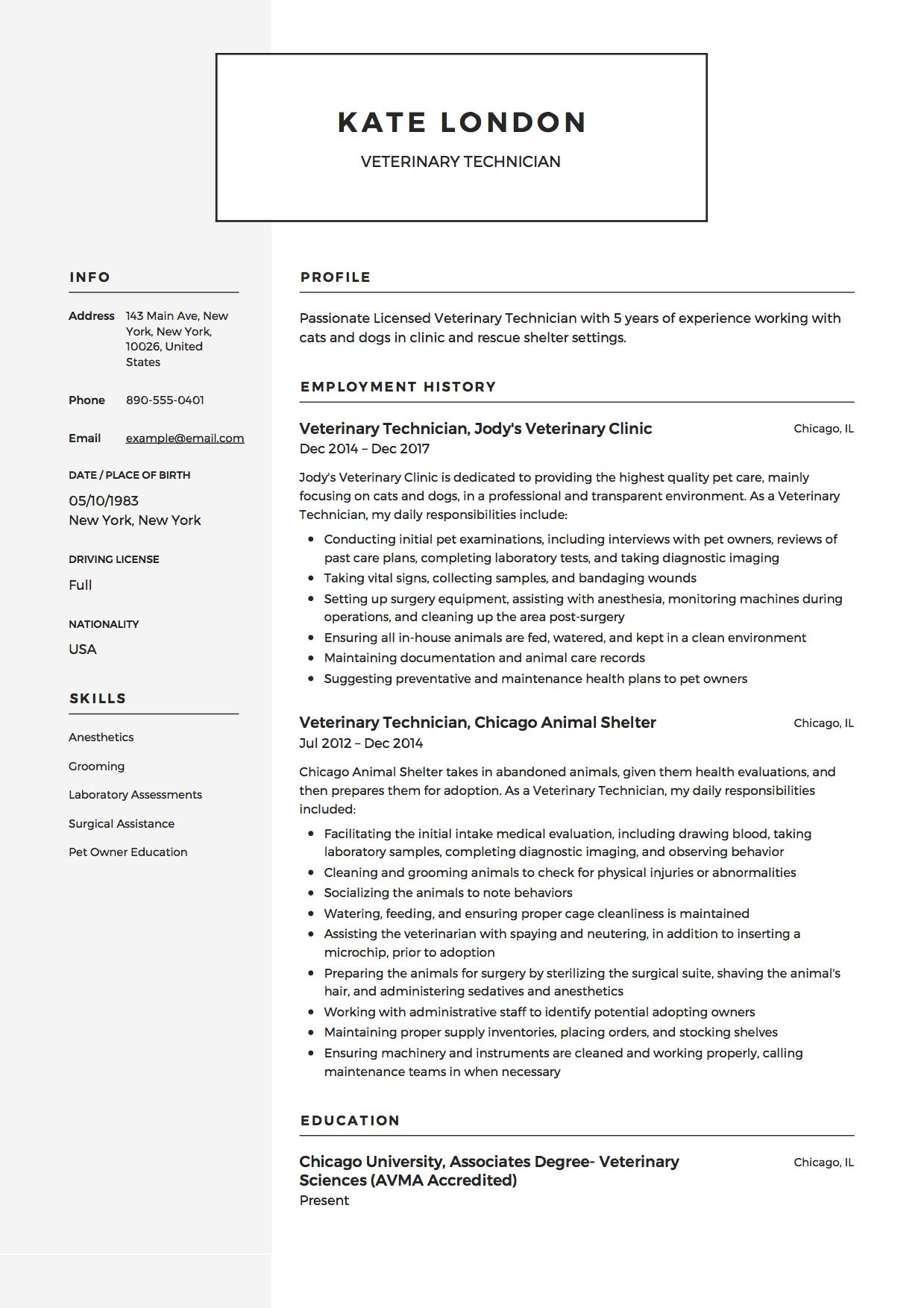 veterinary technician resume example vet tech student medical assistant technical Resume Technical Resume Examples 2020