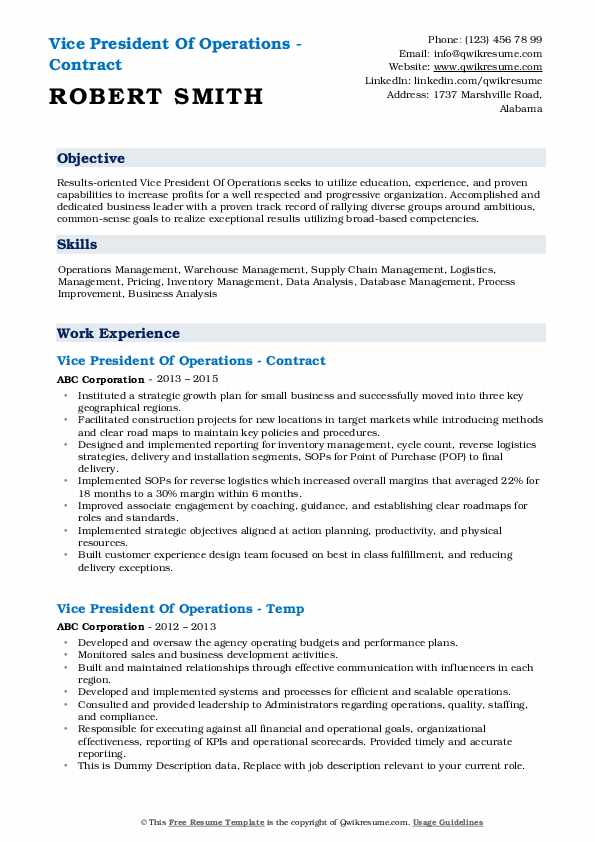 vice president of operations resume samples qwikresume technology pdf junior project Resume Vice President Technology Resume