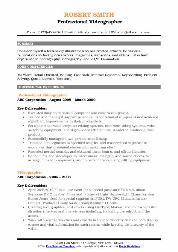 videographer resume samples qwikresume template pdf free maker for students meaning of Resume Videographer Resume Template