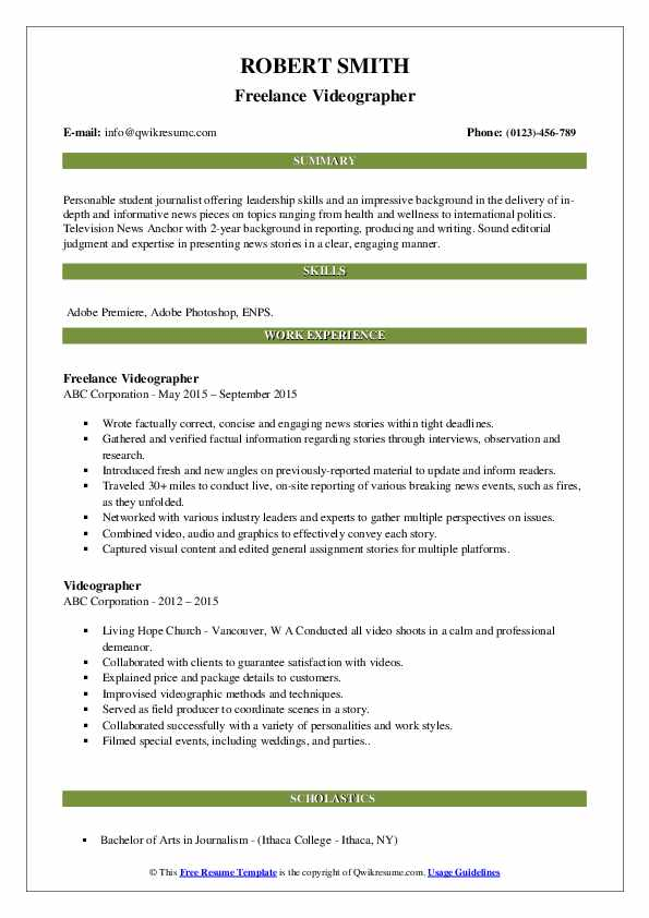 videographer resume samples qwikresume template pdf great additional skills for community Resume Videographer Resume Template