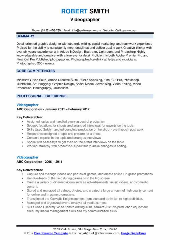 videographer resume samples qwikresume template pdf great additional skills for pastry Resume Videographer Resume Template