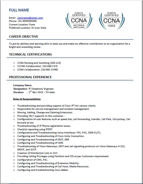 voip resume samples top templates for beginner experienced ccna fresher format free cisco Resume Resume For Network Engineer With Ccna Fresher
