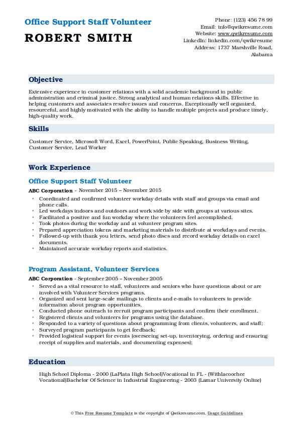 volunteer resume samples qwikresume objective pdf fund accountant expert executive writer Resume Volunteer Resume Objective
