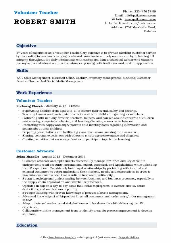 volunteer teacher resume samples qwikresume objective pdf investment analyst job dates on Resume Volunteer Resume Objective