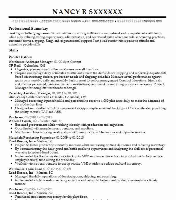 warehouse assistant manager resume example livecareer administrative mechanic objective Resume Warehouse Administrative Assistant Resume