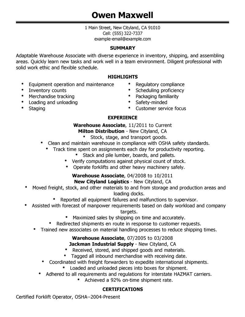 warehouse resume objective samples for worker executive summary template examples sample Resume Resume Summary For Warehouse Worker