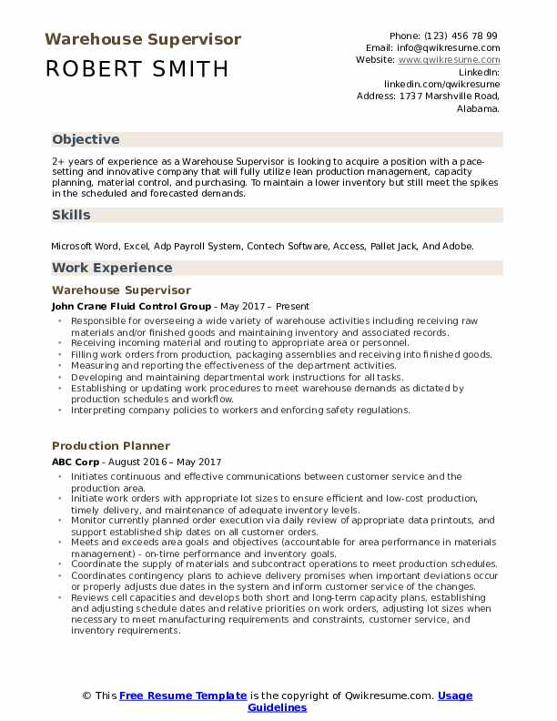 warehouse supervisor resume samples qwikresume for position pdf chef examples cnc Resume Resume For Warehouse Supervisor Position