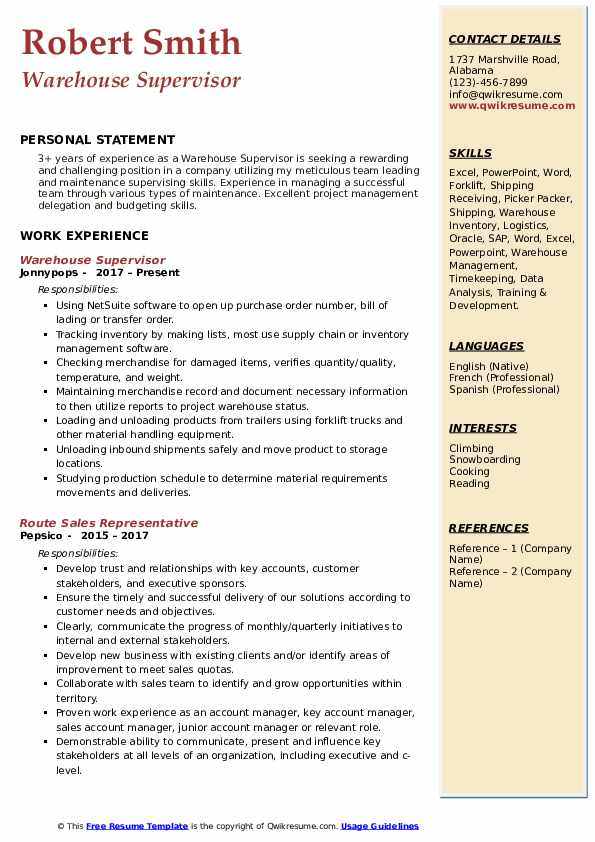 warehouse supervisor resume samples qwikresume for position pdf universal career Resume Resume For Warehouse Supervisor Position