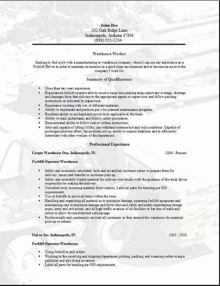 warehouse worker resume occupational examples samples free edit with word summary for Resume Resume Summary For Warehouse Worker