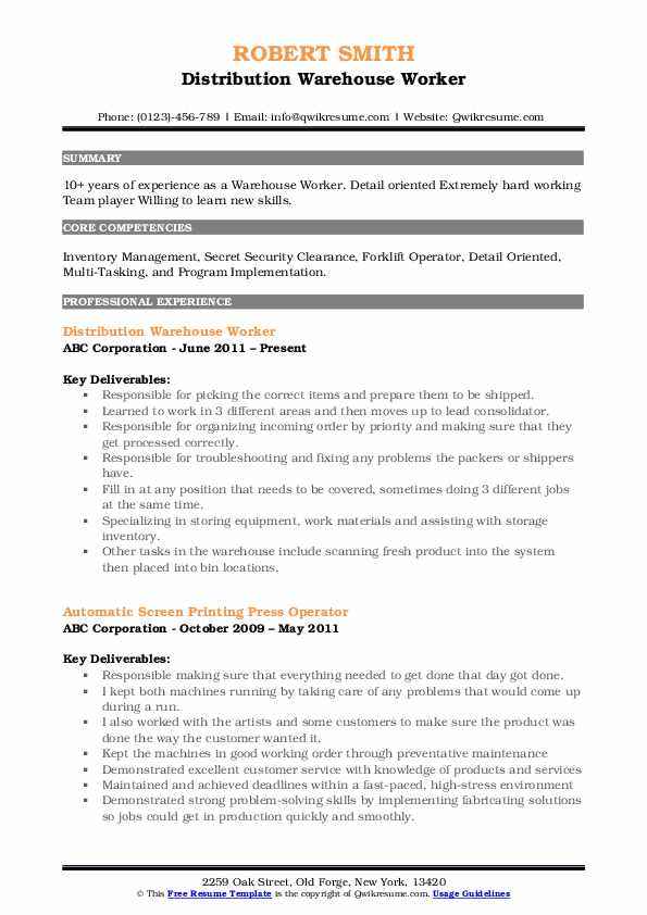 warehouse worker resume samples qwikresume summary for pdf professional application Resume Resume Summary For Warehouse Worker