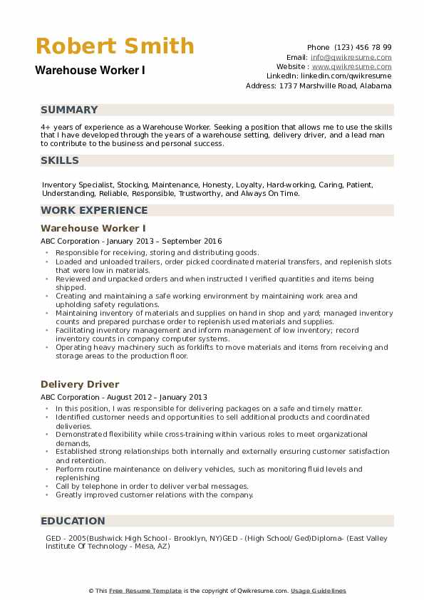 warehouse worker resume samples qwikresume summary for pdf security guard recruiter Resume Resume Summary For Warehouse Worker