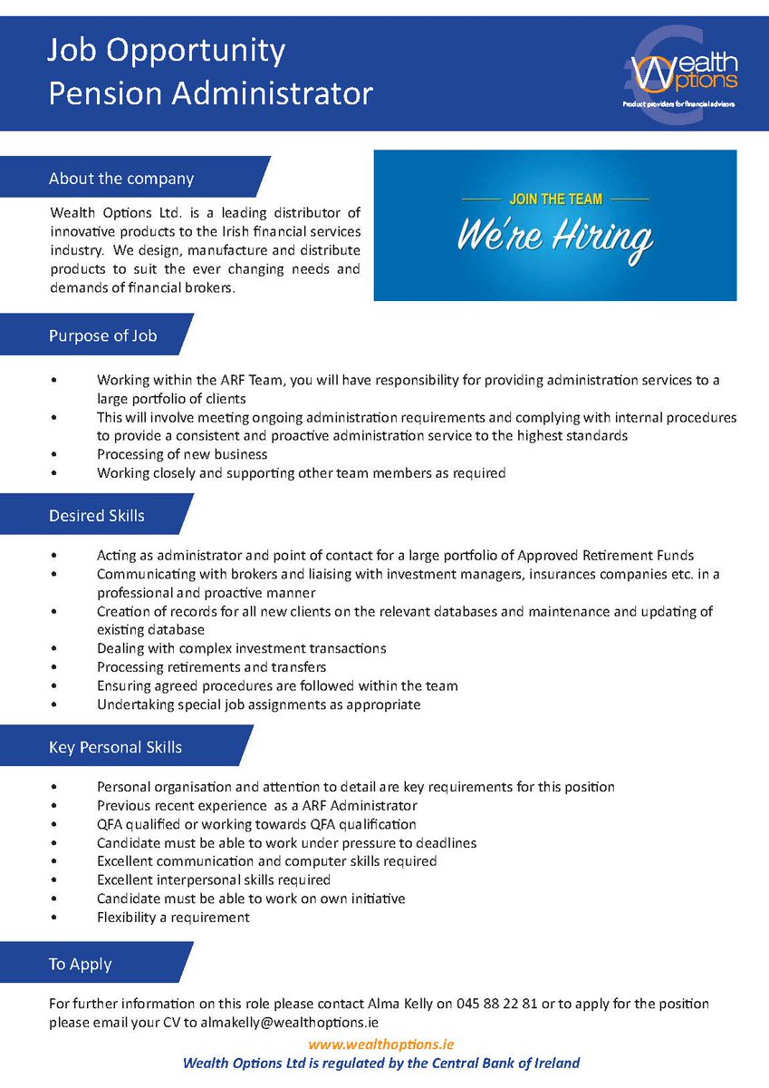 wealth options ltd on job opportunity for pension administrator to join our team resume Resume Pension Administrator Resume