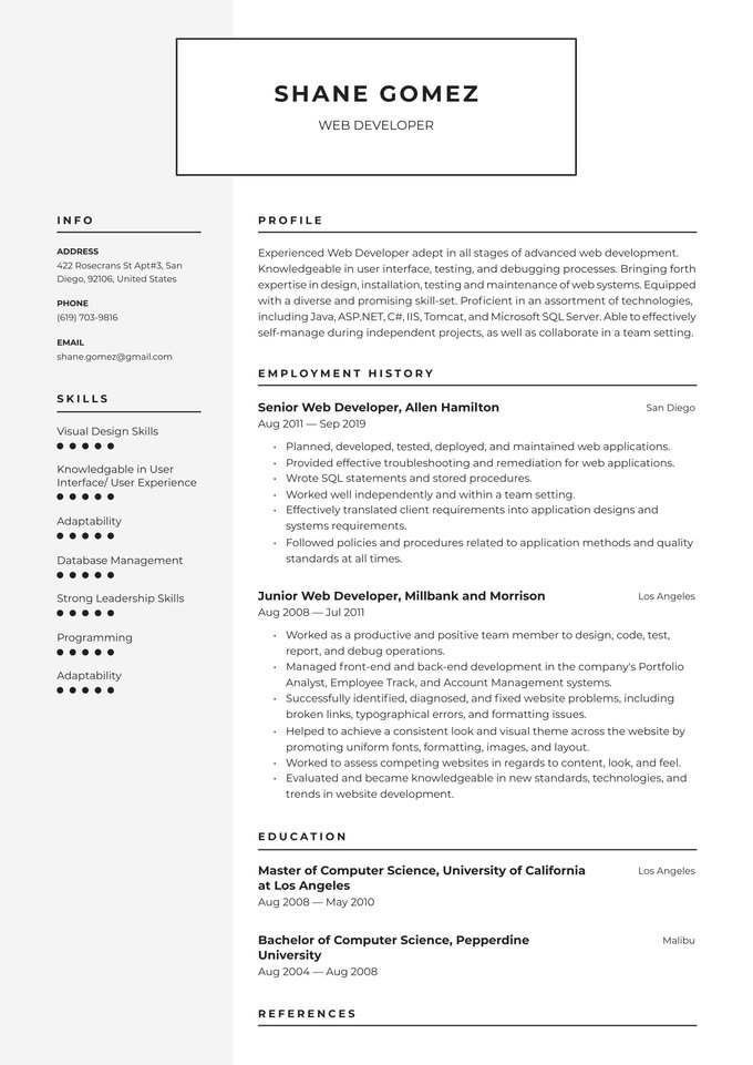 web developer resume examples writing tips free guide io example of child welfare case Resume Example Of Web Developer Resume