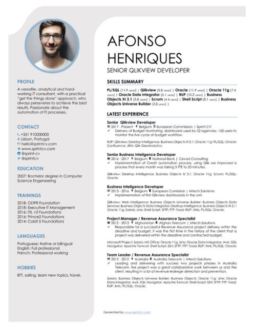 which cv template should an it professional use sprint resume one generated by sprintcv Resume Should I Use A Resume Template