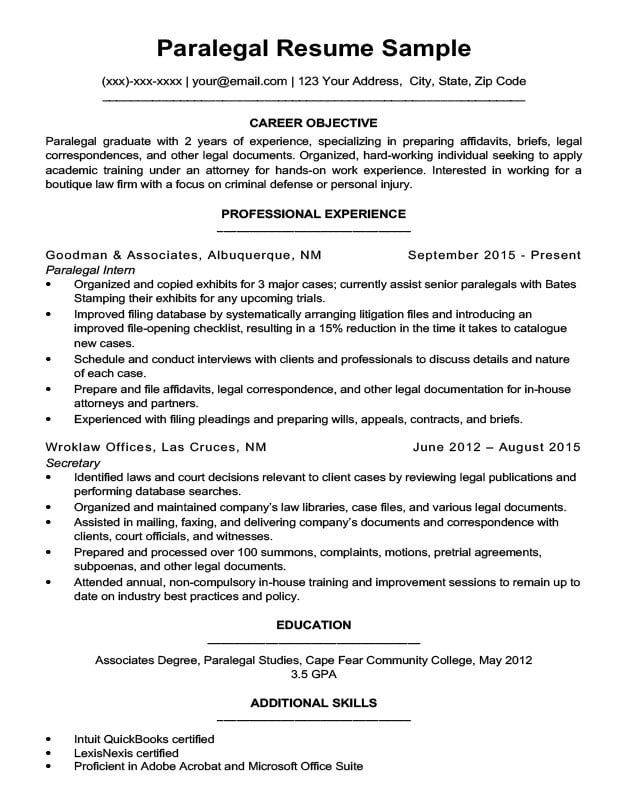 with paralegal resume samples format template security officer objective templates sample Resume Paralegal Resume Template