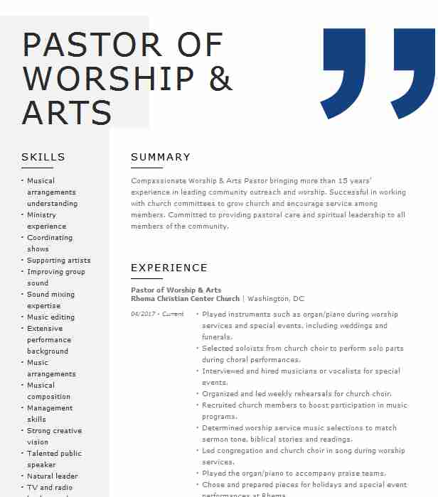 worship pastor resume example south church of templates for university job ey format pre Resume Worship Pastor Resume Templates