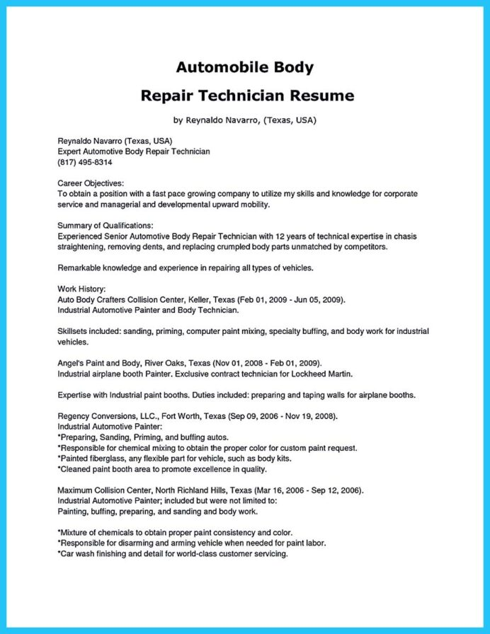 writing concise auto technician resume automotive paint cover letter basic summary for Resume Automotive Paint Technician Resume