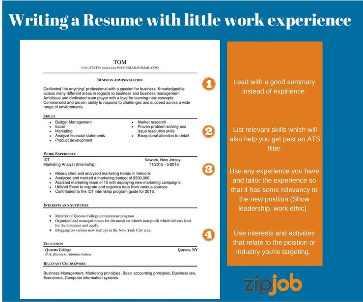 writing the perfect resume with little to no experience examples without lot of work Resume Resume Without Experience