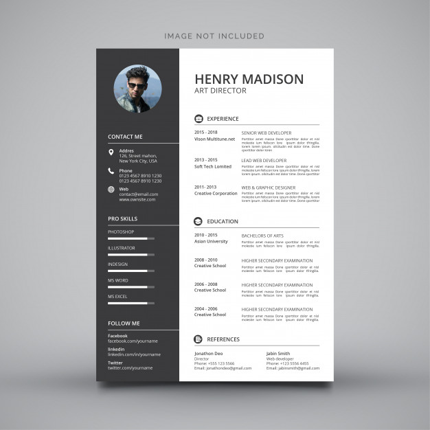 yellow resume images free vectors stock photos photoshop template modern simple Resume Photoshop Resume Template