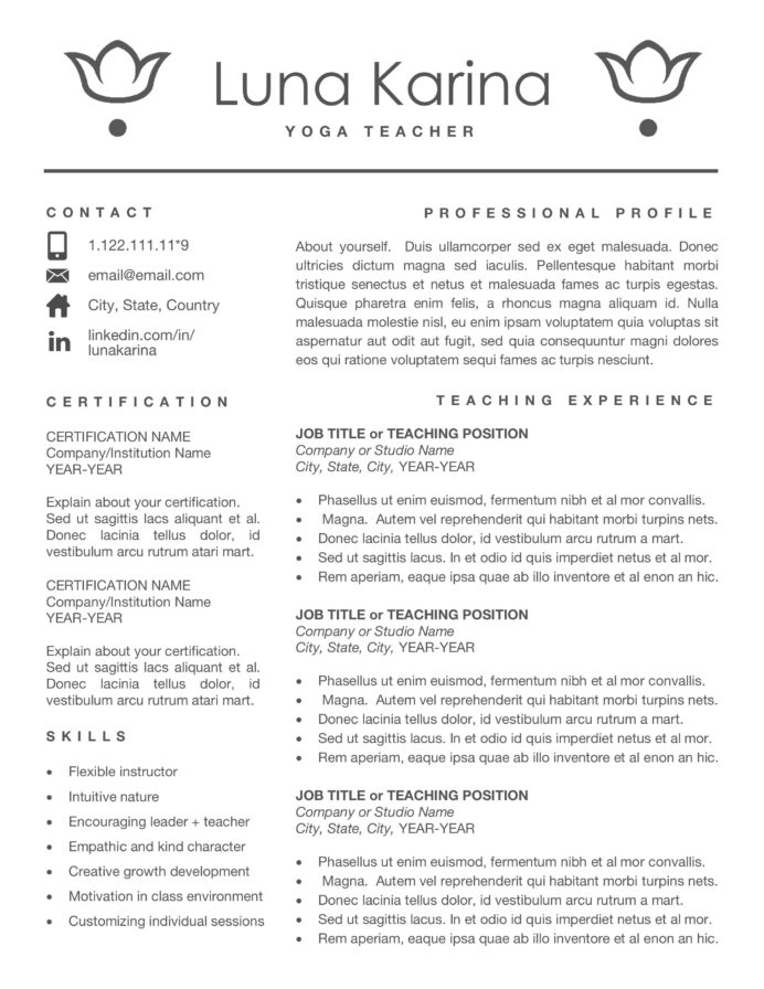 yoga instructor resume template fashion show coordinator work and experience injection Resume Wake Forest Resume Template