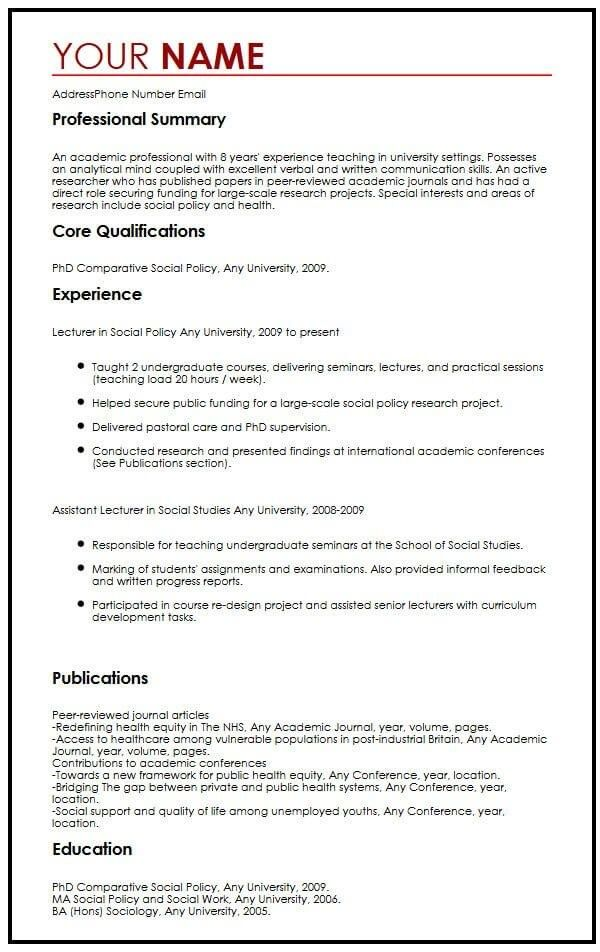 academic cv example myperfectcv examples good resume lecturer experience office duties Resume Lecturer Experience Resume
