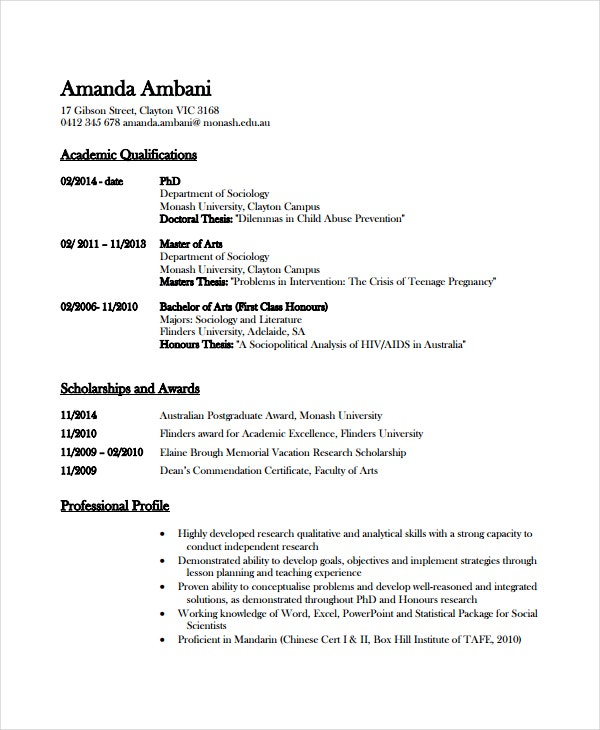 academic resume template free word pdf document downloads premium templates awards and Resume Awards And Scholarships On Resume