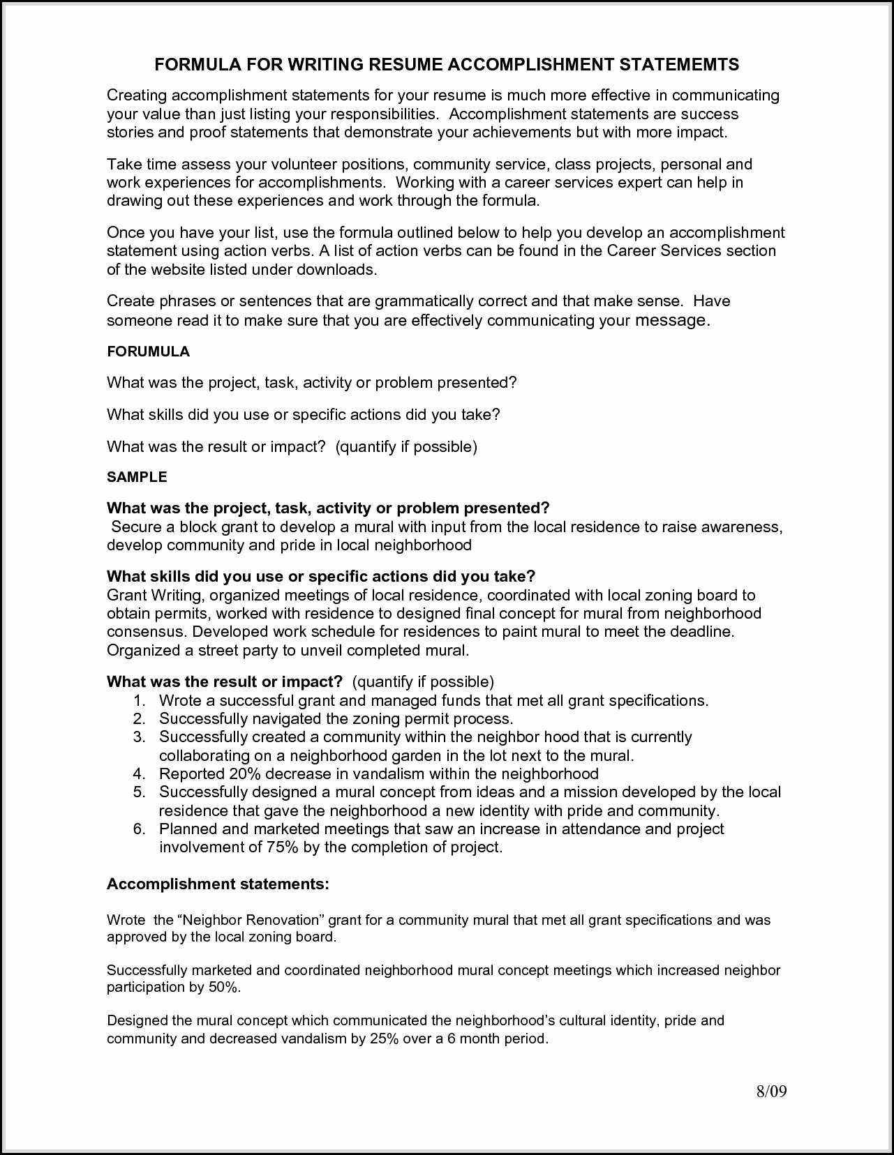 accomplishments resume are indeed important part of any resumes you make from the Resume Professional Accomplishments Resume Sample