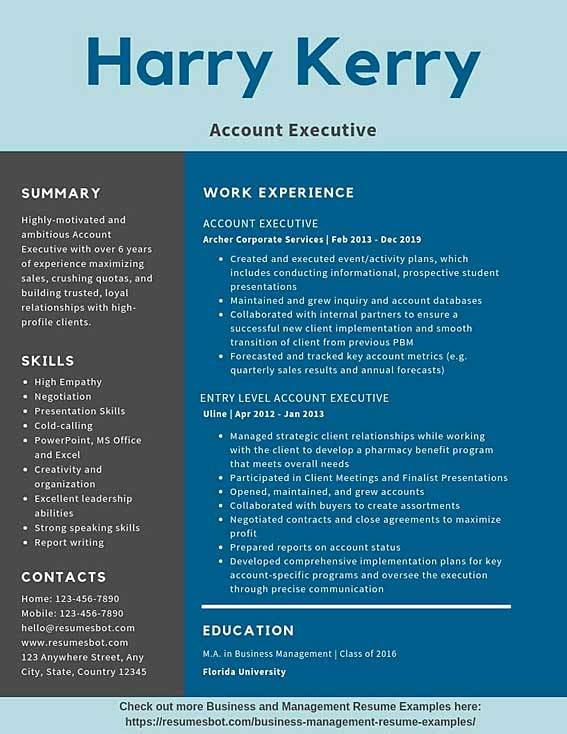 account executive resume samples templates pdf resumes bot template example guaranteed Resume Executive Resume Template 2020