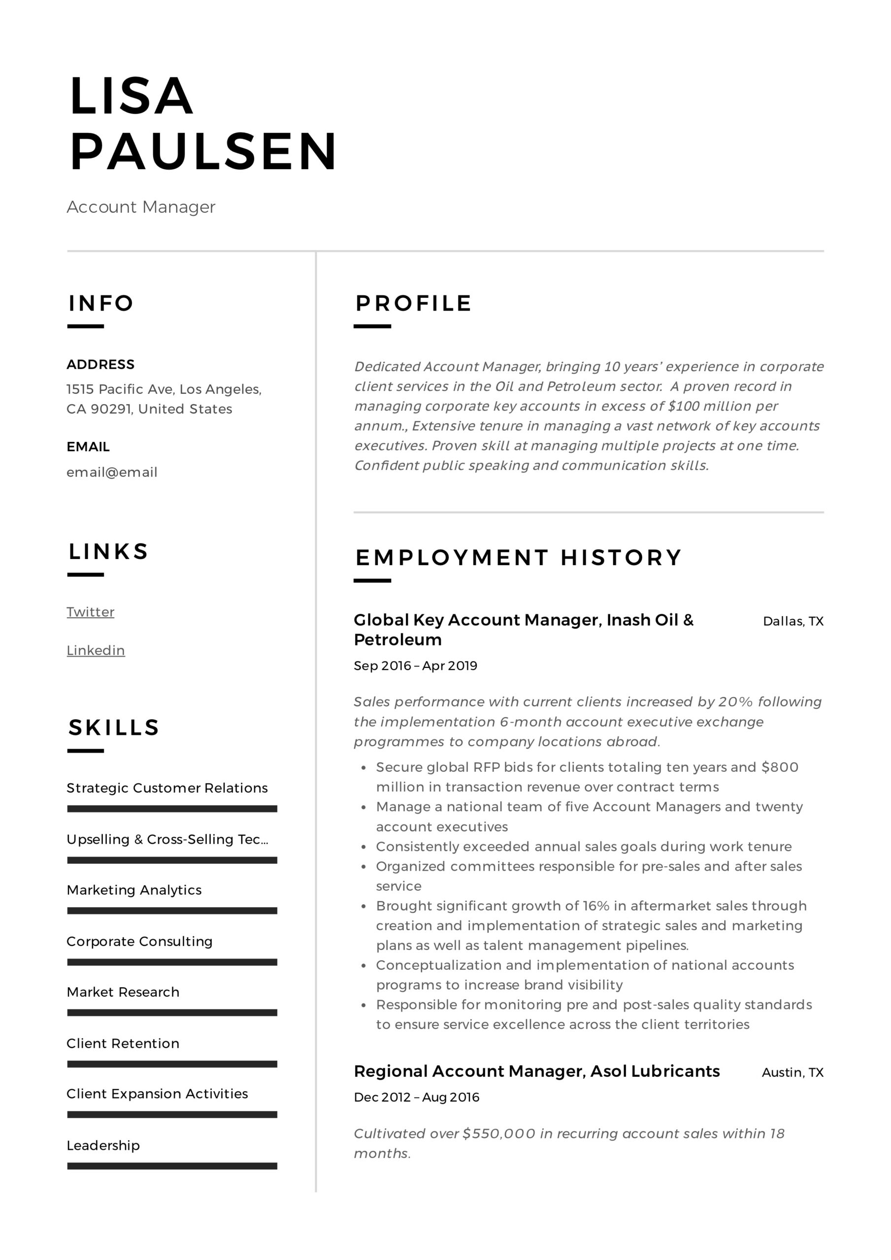 account manager resume writing guide examples example lisa paulsen blockchain for fresher Resume Account Manager Resume Example