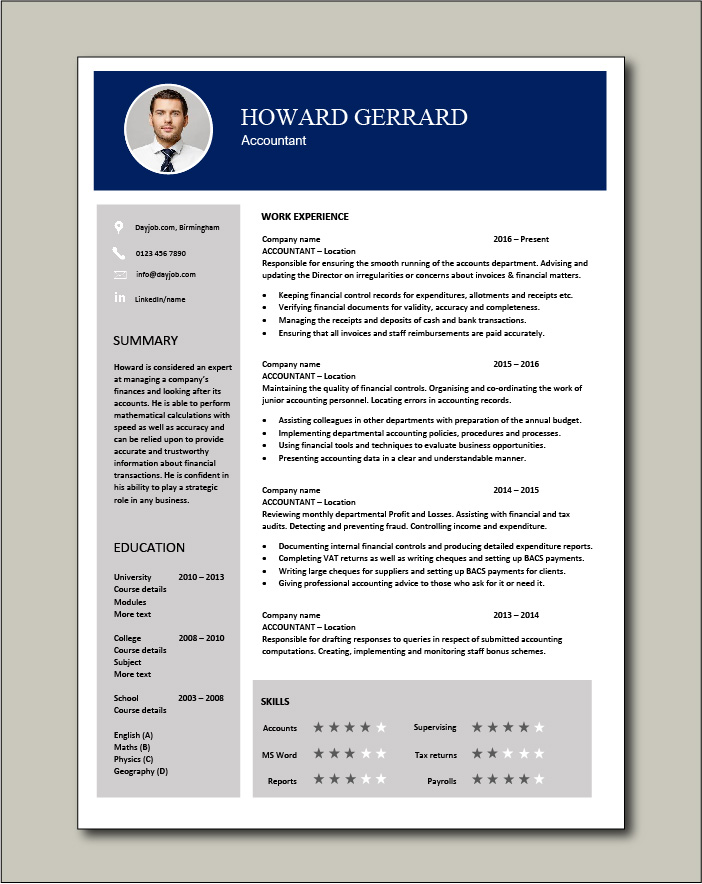 accountant resume example accounting job description template payroll career history best Resume Best Resume For Accountant