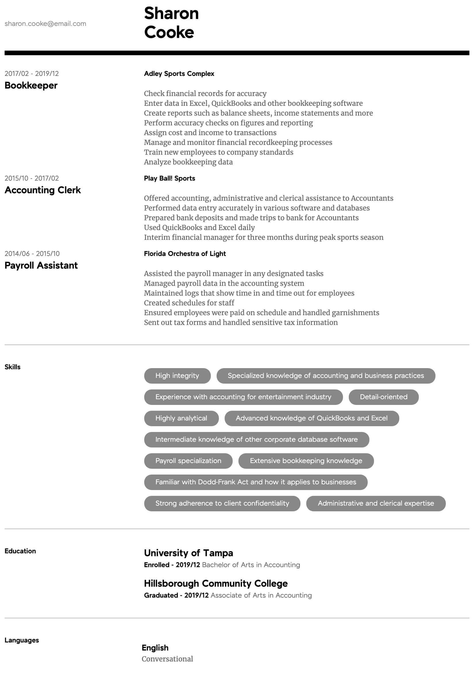 accountant resume samples all experience levels sample intermediate ballet law school Resume Accountant Resume Sample