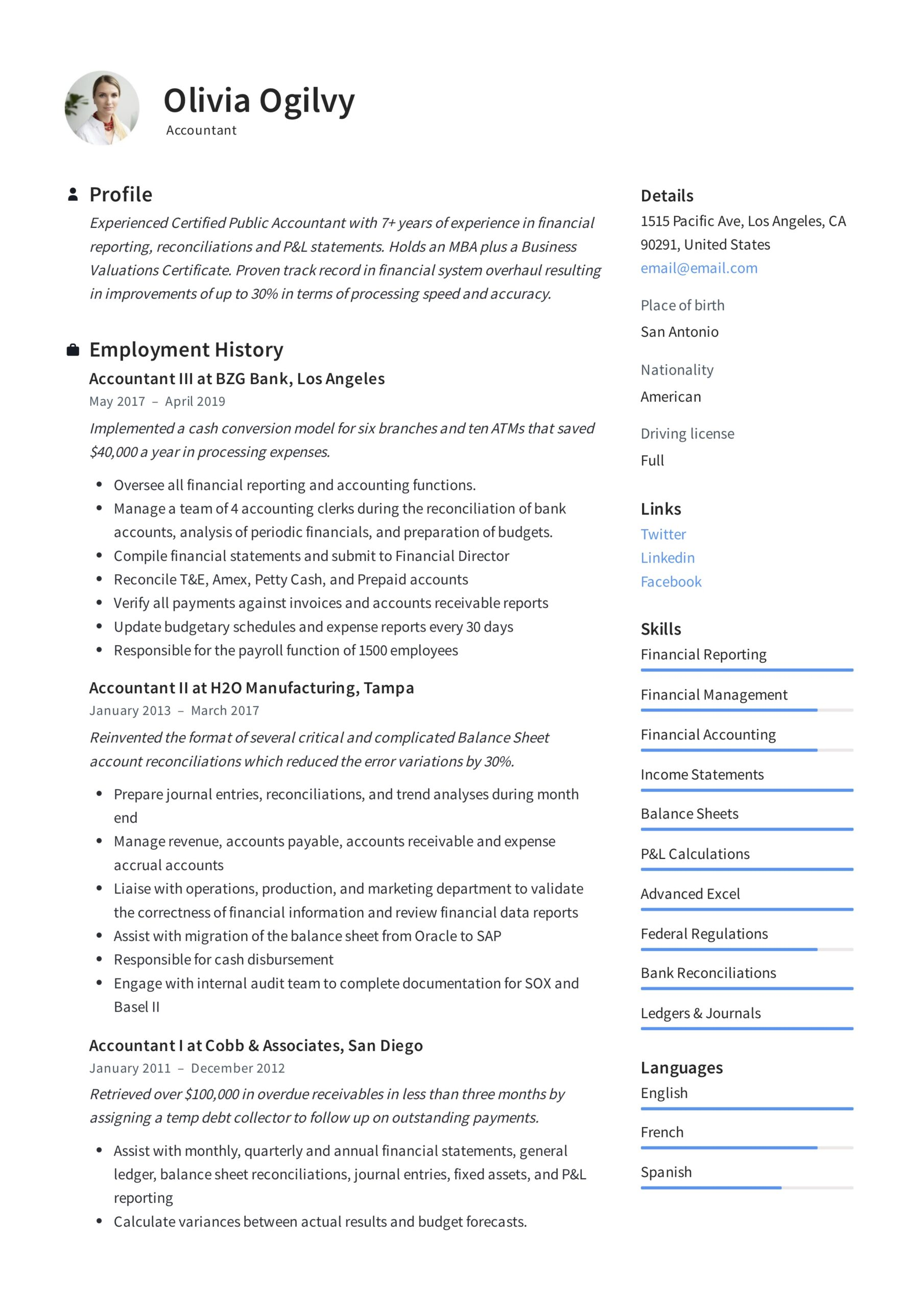 accountant resume writing guide templates pdf best for olivia ogilvy business Resume Best Resume For Accountant