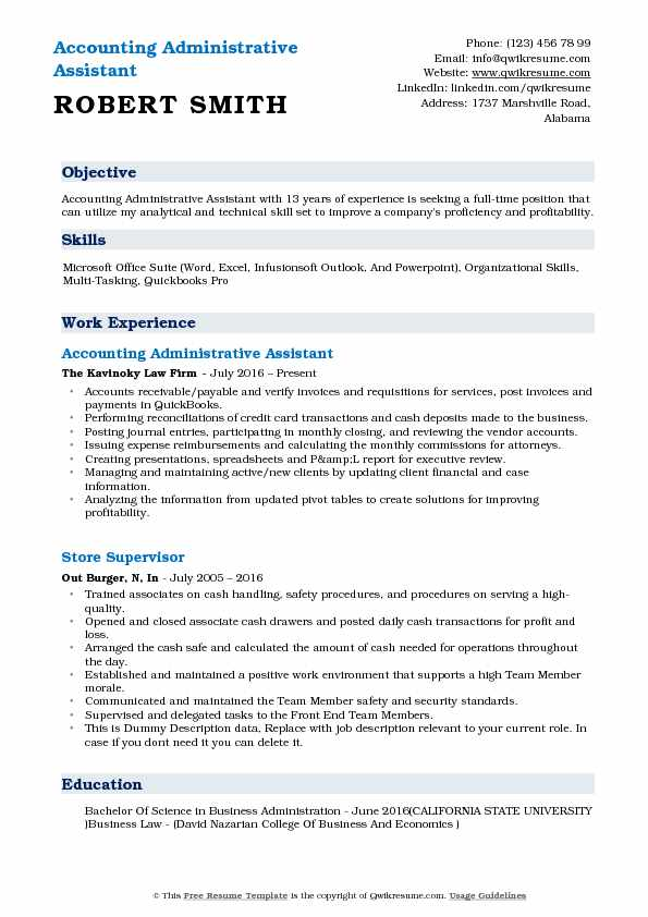 accounting administrative assistant resume samples qwikresume administration job Resume Administration Job Description Resume