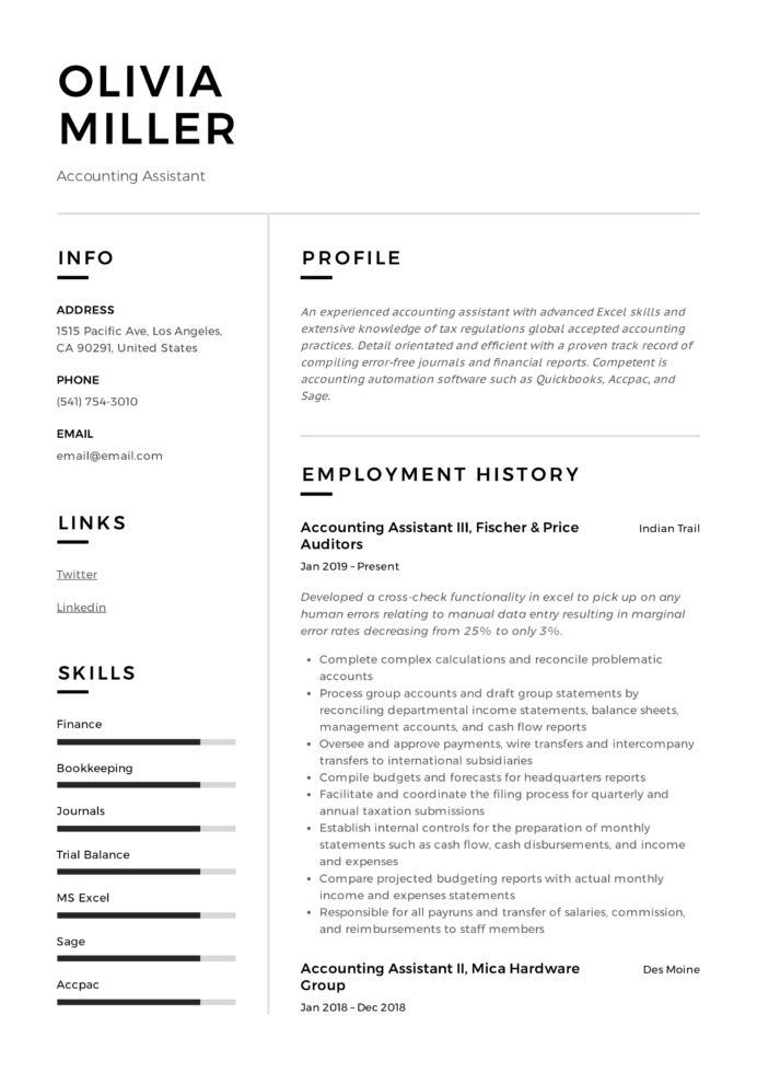 accounting assistant resume writing guide examples pdf skills summary markdown for ngo Resume Accounting Resume Skills Summary