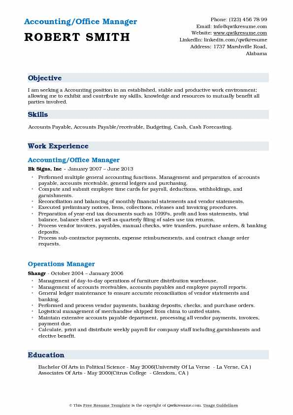 accounting office manager resume samples qwikresume objective on for pdf network engineer Resume Objective On Resume For Office Manager