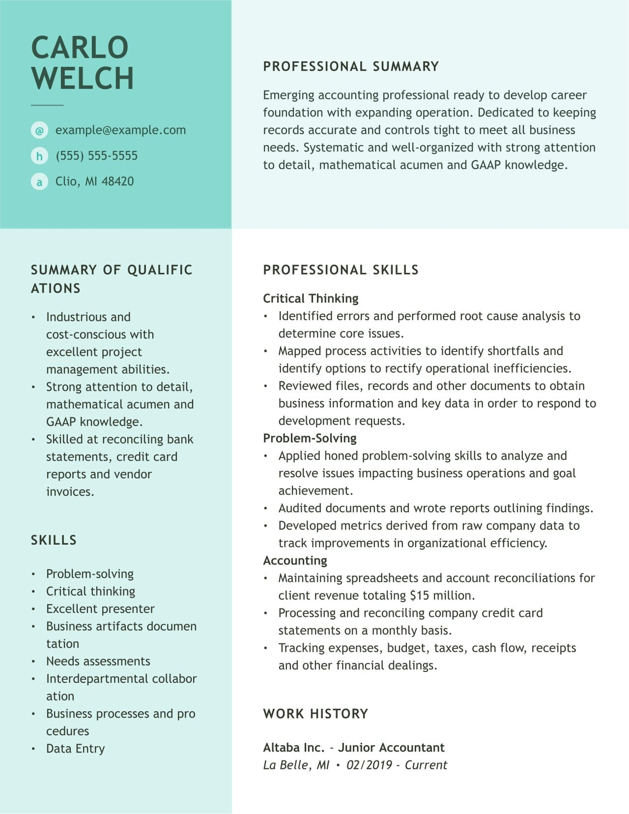 accounting resume examples and guides myperfectresume accountant sample junioraccountant Resume Accountant Resume Sample