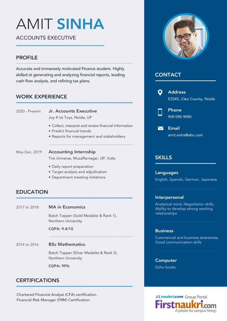 accounting resume sample career guidance format for freshers design 724x1024 current Resume Resume Format For Freshers