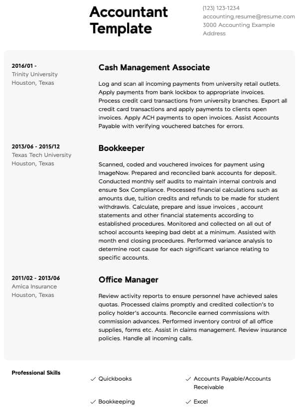 accounting resume samples all experience levels accountant sample chartered group fitness Resume Accountant Resume Sample
